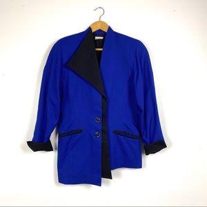 Vintage Asymmetrical Royal Blue Blazer 80s
